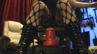 SISSYBOY TAKES A HUGE EXTREME LARGE RED DILDO