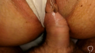 White Nylon Panty Creampie ! My Big Pussy Lips Fucked Close Up HD