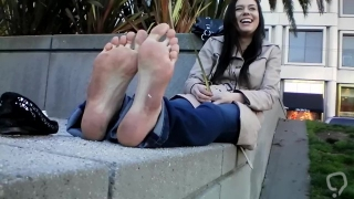 CSS Girl shows her pretty dirty soles