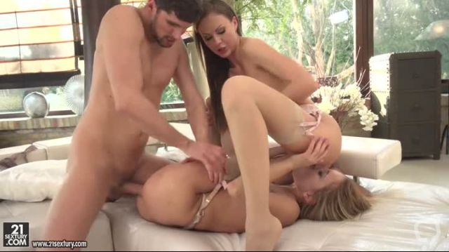 Blonde Nikky Thorne does naughty threesome with Sexy brunette friend