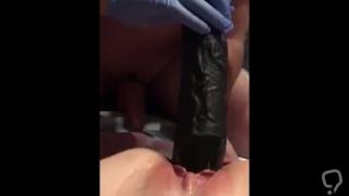 Big black dildo strech little pussy