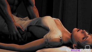 3D ebony babes fucked well and raw
