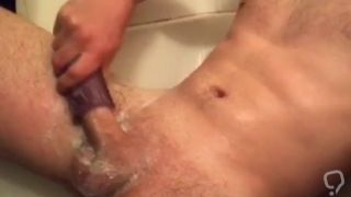 Rubbing my white dick in shower