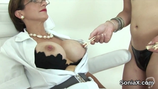 Adulterous british milf lady sonia exposes her oversized jugs