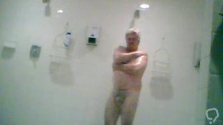 Hot dad showering at work