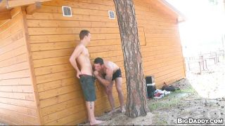 Horny Dudes Having Blowjob By A Cottage