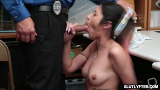 Angel Del Rey strip and coerce the LP officer into sexual activity