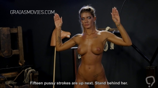 Angry domina whips blonde nerd