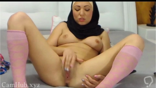 Arab hijab slut strip and masturbation on cam