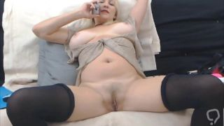 real blonde gilf is enjoying her bare body, with huge-titty
