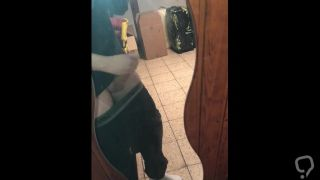 Cum in front of the mirror