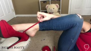 Briana Booty Foot Job, Blow Job and Hand Job POV with Dangling High Heels