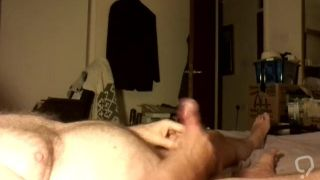 Daddy wanking self until he cums since no young guy was around to fuck