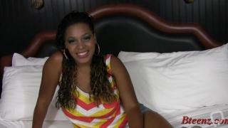 Beautiful brunette ebony honey cassie love enjoys every bit