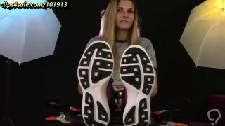 blonde cutie gets her feet tickled