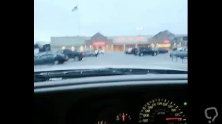 Horny young girl driving in public pussy masterbation at busy grocery store