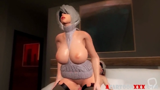 Big boobs blonde 3D babe pussy fucked deeply