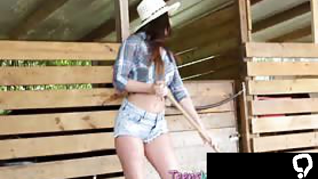 Teen amateurs suck and ride cowboys cock in outdoor group