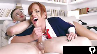 Scarlett seems to get the hang of it quickly By the time she is sliding up and down his pole she is a seasoned pro Finally he shoots his load all over Scarletts pretty face and she could pass any dick pleasing exam