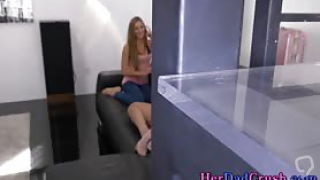 Blonde stepdaughter teens in pov threesome get plowed and facialized