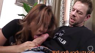 Anally banged ebony babe gobbles big cock for cum in mouth