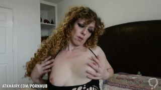 Leona plays with her hairy pussy for you
