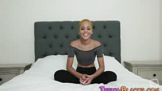 Bendy blonde black teenage babe gets pussy plowed by big dick