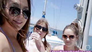 Real pov teenagers face jizzed at sea during 4way blowjob fun