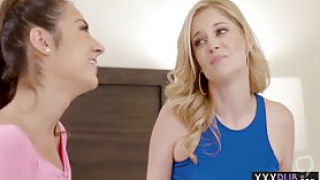 Small tits lesbians Charlotte Stokely and teen Lily Adams pussy licking and fingering after a hot massage