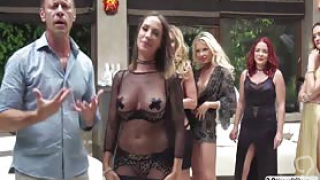 Five gorgeous sluts Blue Angy, Silvia Lamberti, Joanna Bujoli, Linda Leclair and Malena are ready for having good time with guys. Then they starts the good time by sucking those guys huge cock while some guys fucks their juicy ass and wet pussy so hard.