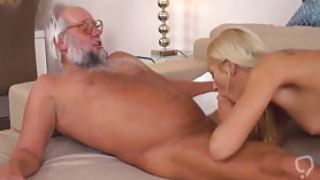 Beautiful blonde babe gets her pussy eaten and screwed by a grayhaired old man