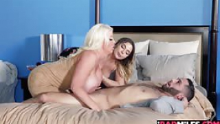 Alura Jensen and Blair Williams both took turns fucking him with their tits mouth and pussies Alura goes on top of his young cock while Blair rubs her pussy on his face This was the perfect way to start the spreading of joy for the upcuming holiday
