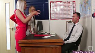 Cfnm femdom babe jerking off and mocking office dork for cum