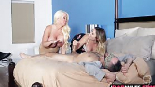 Blair invited her boyfriend over and blindfolded him so her stepmom could help her please his cock They both took turns fucking him with their tits mouth and pussies This was the perfect way to start the spreading of joy for the upcuming holiday