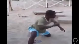 Black guy fucks sand with his mouth