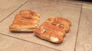 Food Crush - Bread buns crushed by boots