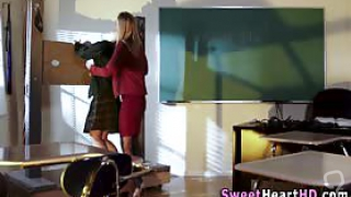 Dominating lesbian teacher spanks and clothespins masturbating teen