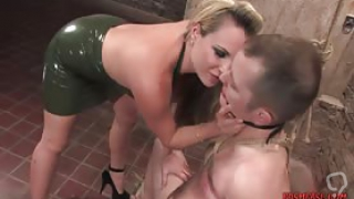 Lady with big tits and blonde hair enjoys whipping and spanking a dude in bondage sex