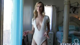 Skinny blonde pornstar in high heels shows off her ass in pov and hd