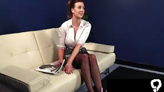 Busty cfnm domina watches loser tug and shows panties in hi def