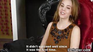 Blonde virgin Alesya Gagarina lifts up skirt and shows panties