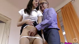 Uniformed 18yo in spex facialized and fucked my dirty old man