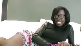 Fingered ebony teenager sucks cock and gets cum facialized