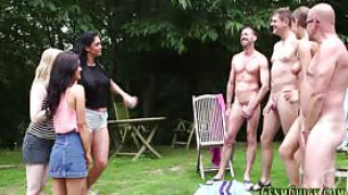 Cfnm brit mistresses outdoors suck and tug dicks for cum in hd
