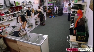 Big titty latina gets nailed in the shop by a hard cock