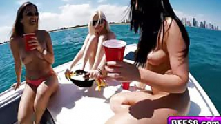 Watch these adorable chicks as they get wild and passionate in an sexgroup at a boat celebration. They loved pumping with this hot guy and shared with his large penis until they all got a nasty spunk glazing.