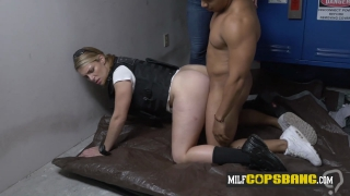 Black burglar stretching dirty cop's white pussy doggystyle