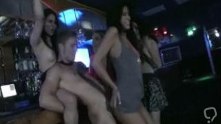 Amateur girls having fun with male stripper