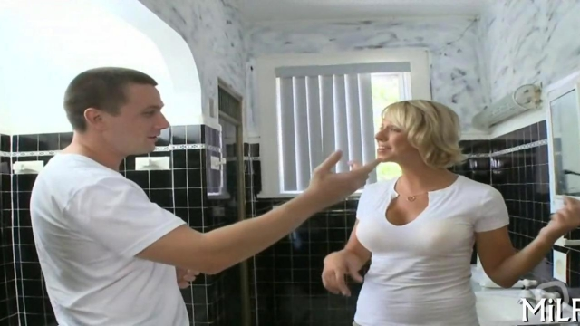 blonde bitch with big boobs gets to be fucked deeply