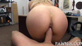 Blonde busty chick gets pawn shop cash for her pussy